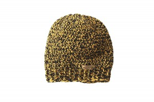 knitted yellow black beanie hat - 100% wool