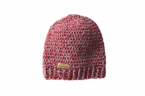 Knitted red grey beanie hat  - 100% wool