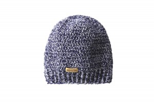 Knitted blue grey beanie hat - 100% wool